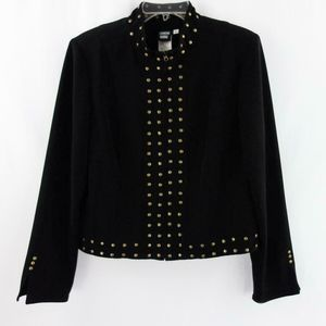 Brass Studded Zip Stretch Lined Jacket